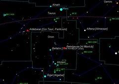 Orion Mars Aldebaran