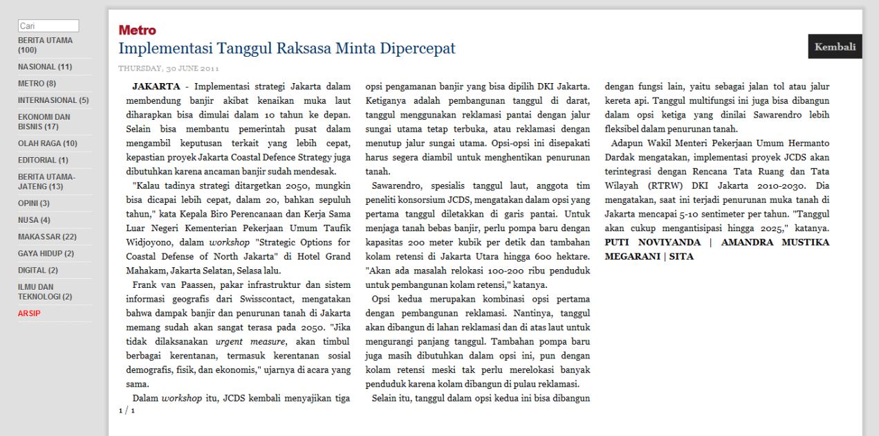Koran Tempo 3 Juni 2011 - Implementasi Tanggul Raksasa Minta Dipercepat
