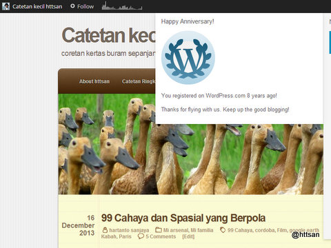 You registered on WordPress.com 8 years ago! Thanks for flying with us. Keep up the good blogging!