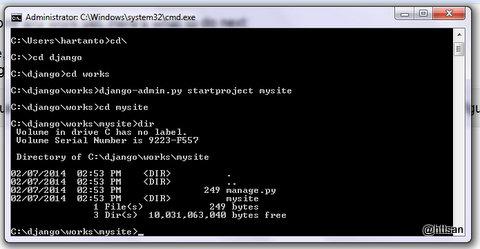 django-admin.py startproject mysite